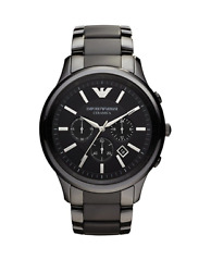 New Emporio Armani Ceramica Chronograph Black AR1451 47mm Wrist Watch for Men