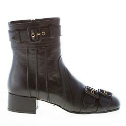 Prada Women Shoes Black Leather Ankle Boot Straps And Buckles 1t129i 3acm F0002