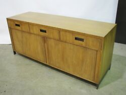 Baker Furniture Vintage Mid-century Credenza With Tambour Doors And Metal Base
