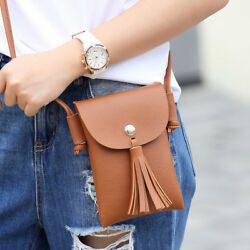 Faux Leather Tassel Cell Phone Purse Small Crossbody Purse Bags For Teen Girls
