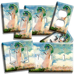 CLAUDE MONET WOMAN WITH A PARASOL PAINTING LIGHT SWITCH OUTLET PLATE ROOM DECOR