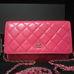NIB 14S CHANEL BRIGHT BARBIE PINK WALLET ON A CHAIN BAG CROSS BODY SILVER HW