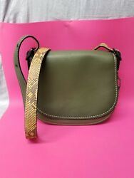 NWT COACH COLOR BLOCK PYTHON SADDLE BAG CROSSBODY PURSE CAMO OLIVE GREEN 20115