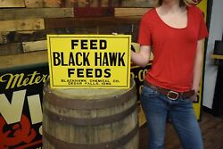 VINTAGE 1940's BLACK HAWK ANAMEAL FEEDS PIG COW CHICKEN FARM 18