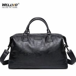 Leather Mens Travel Duffel Bag Round Bucket Shape Bag Shoulder Bag Waterproof