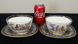 Pair Of Meyrand039s Neffe Enameled Courting Couple Bowls And Under Plates