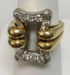 18k Yellow / White Gold Ring 10 Diamonds .50ct. Total Weight G/vs Made In Italy