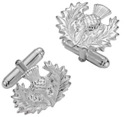 Cufflinks Sterling Silver Traditional Unframed Open Scottish Thistle