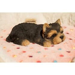 Lying Down Sleeping YORKSHIRE Puppy - Life Like Figurine Statue Home  Garden