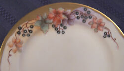 Antique Hand Painted Whiteware Dinner Service For 8 Artist Signed Floral Berries