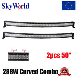 2x50inch 288W CREE CURVED OffRoad LED WORK LIGHT BAR FLOOD SPOT COMBO SUV ATV 51