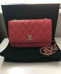 Chanel Bright Pink Lambskin Wallet on Chain w GHW Spring 2017 100% AUTHENTIC