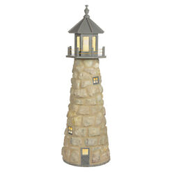 Amish Handcrafted Stone And Poly Garden Lighthouse - Maintenance Free - Free Ship