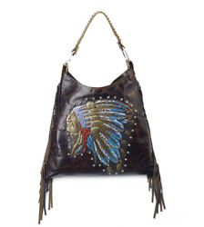 Raviani Hand Painted Native American Chief Brown Leather Hobo Handbag W/fringes