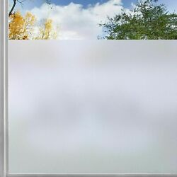 Rabbitgoo Window Privacy Film Non-adhesive Tint Frosted Stained Glass Pure