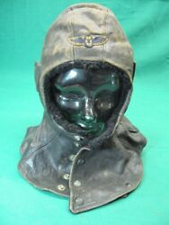 Wwi Cowl Leather Flying Hood Helmet With Brevet Carr Fast Co Snaps Usa