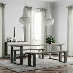 Holborn Modern Industrial Style Dining Table Wooden Metal U Shaped Legs Rustic
