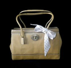 NWT Coach LG Madeline Natural Tan Leather Tote Bag Purse Satchel w Sig C Scarf