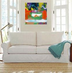 Modern Canvas Art Large Square Abstract Wall Decor Acrylic Paintingmilk Pool