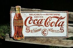 Drink Coca-cola Delicious 5andcent Embossed Tin Metal Sign - Coke - Retro 1915 Bottle