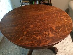 Antique Claw Foot- Pickup Only -tiger Oak Dining Table With Glass Top 40 Round