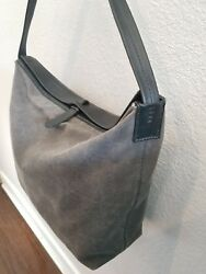 Henry Cuir Beguelin Black & Gray Waxed Canvas and Leather Hobo Handbag Tote bag