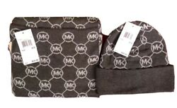 Michael Kors Women's Circle Logo Knit Scarf and Hat GrayDerby Gray   NWT