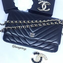 New Chanel WOC wallet on chain chevron lambskin ghw