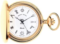 Pocket Watch Gold Plated Masonic Full Hunter With Date Ablert Chain Gift Box