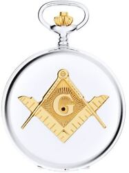 Masonic Pocket Watch Two Tone Full Hunter With Compasses And Square Gift Box