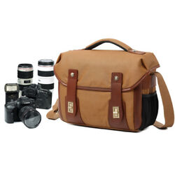 Men ' s Vintage Canvas Leather Shoulder Bag Waterproof Camera Bag Travel Satchel