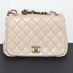 $4400 Chanel Beige Leather Flap bag gold hardware beautiful chain NEW