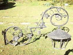 Antique Very Large Outdoor Cast Iron And Steel Light Grape Vines, Trade Sign