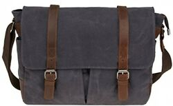 Waterproof Canvas 15.6 Laptop Messenger Bag Men Business Vintage shoulder bag