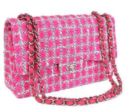 Chanel Matelasse 30 Shoulder Chain Bag Purse Tweed Pink Women Luxury Auth New