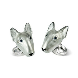 Deakin and Francis English Bull Terrier Cufflinks Silver & Sapphire Eyes