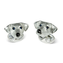 Deakin and Francis Jack Russell Dog Cufflinks Sterling Silver & Sapphire Eyes