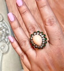 Stunning 18k Gold Ring Pear Shaped Angel Skin Coral Cabochon, Emeralds, Diamonds