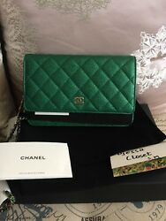 Brand New CHANEL Wallet On Chain in Green 18S
