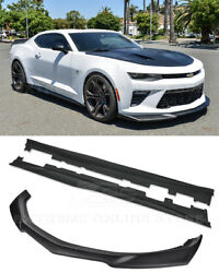 For 16-up Camaro Ss | Zl1 Style Plastic Black Front Lip Splitter And Side Skirts
