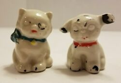 Unique Vintage Black and White Cat and Dog Small Figurines CeramicPorcelain