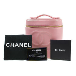 CHANEL CC Vanity Cosmetic Bag Caviar Skin Pink Leather Vintage Authentic #E151 W