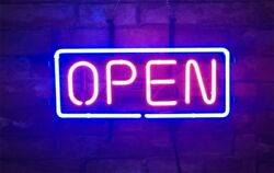Neon Open Sign Store Pub Gift Real Glass Bar Handcraft Wall Vintage Beer