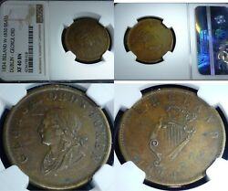 1834 IRELAND W-1830 DUBLIN - GEORGE ORD BRASS -TOP POP NGC XF40  - RARE