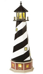 Amish Made Wood Garden Lighthouse W/base Cape Hatteras - Electric Base Lighting