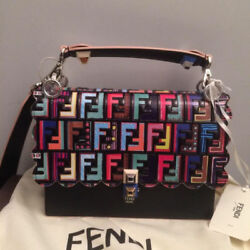 USED FENDI canai black leather bag free shipping Japan Very popular Famous