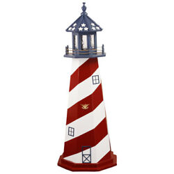 Amish Crafted Wood Garden Lighthouse - Patriotic Cape Hatteras - Lighting Option
