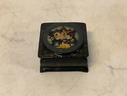 Russian Black Lacquer Box With Fairly Tale Decoration Of Man And Woman On Horse