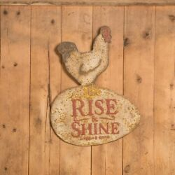 Vintage Style Sign Metal Rise and Shine Chicken Sign