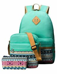 Cute Backpack Set for Girls Canvas Middle School Laptop Book Bag for Kids